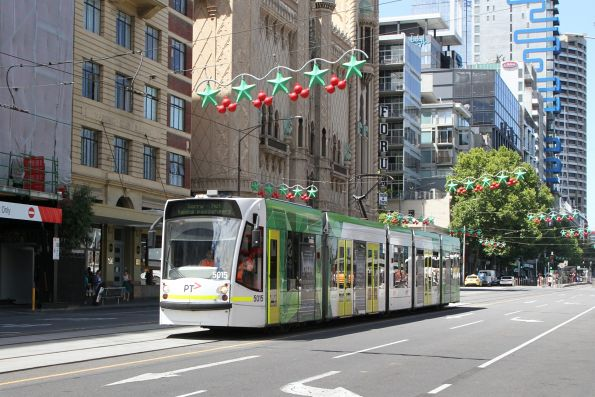 D2.5015 heads west out of service at Flinders and Russell Street