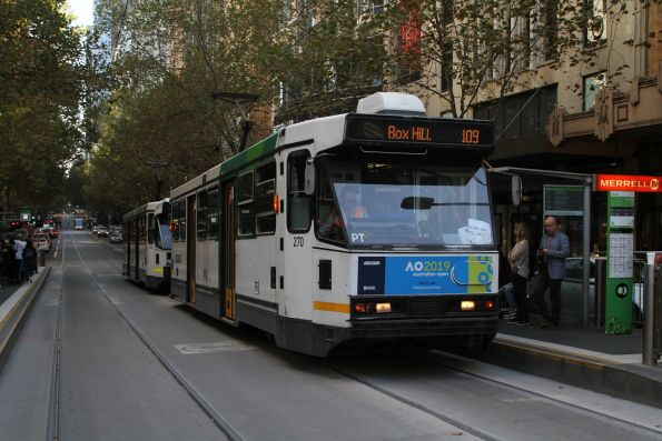 A2.270 heads east on route 109 at Collins and Swanston Street