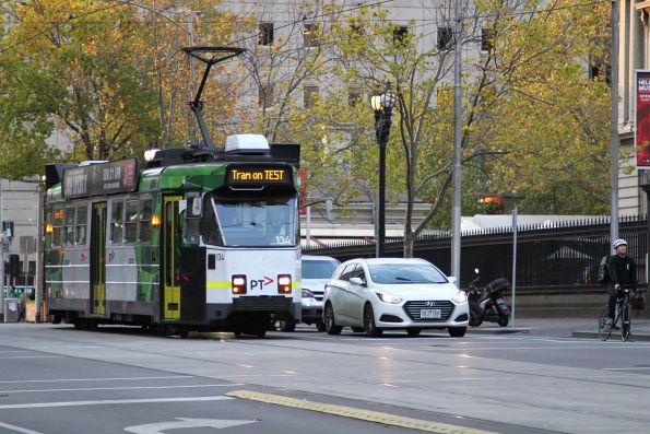 Z3.134 heads south on test at William and Little Lonsdale Street