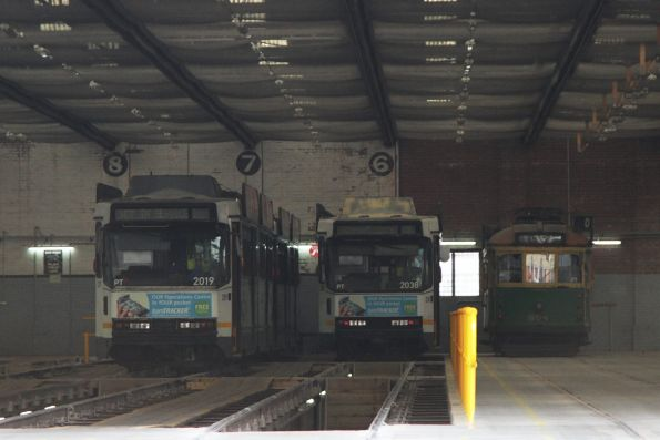 SW6.854 stored at the back of the shed at Camberwell Depot, with B2.2019 and B2.2038 alongside