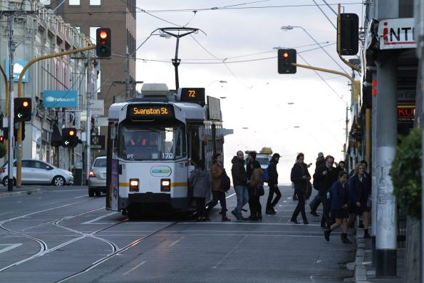 Z3.170 southbound on route 72 pauses at Camberwell station, as passengers change from tram to train