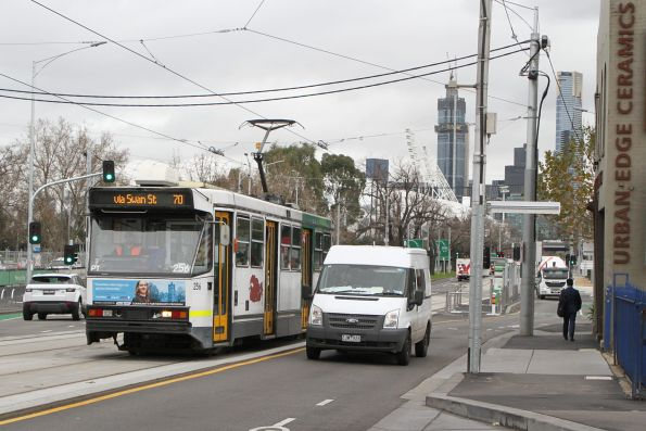 A1.256 heads east on route 70 along Swan Street at Richmond station