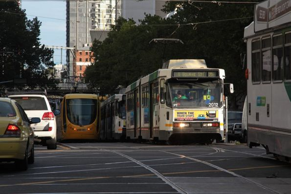 B2.2012 among the Grand Prix trams on Spencer Street
