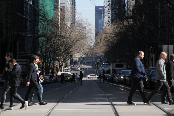 No trams to the west at Collins and William Street