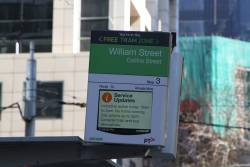Industrial action notice for passengers on the TramTracker PIDS at Collins and William Street