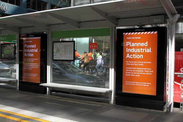 'Planned industrial action' message on the JCDecaux tram stop advertising screens at Collins and William Street