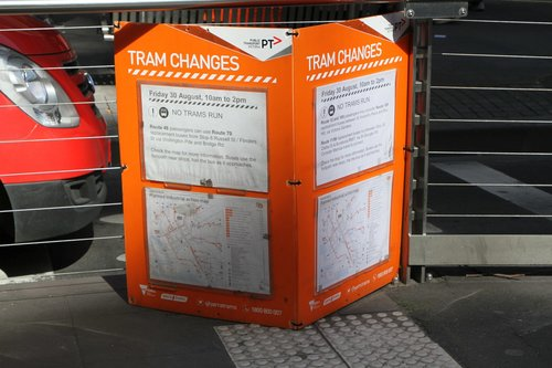 Industrial action signage for passengers at the Collins and William Street tram stop