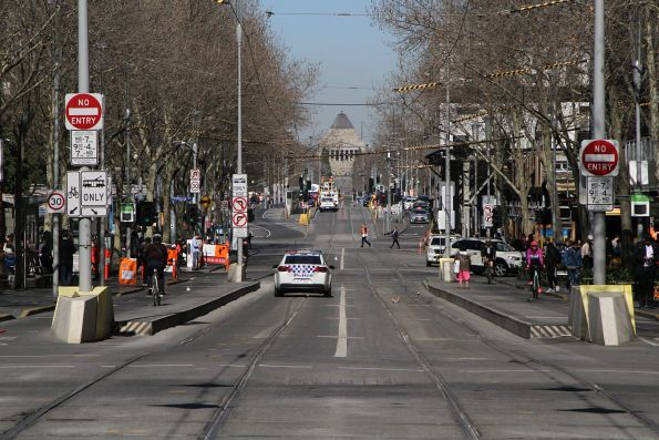 No trams to the south at Swanston and Collins Street