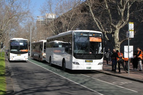 Ventura coaches on tram replacement services at the Arts Centre