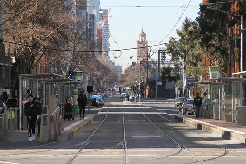 No trams to the east at Spencer and Flinders Street