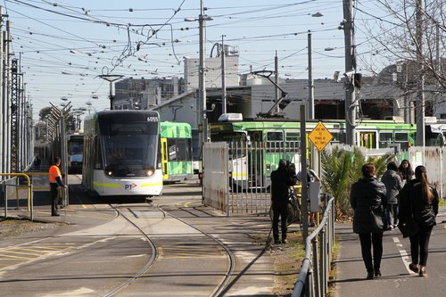 E2.6055 is the first tram out of Southbank Depot following the stopwork action