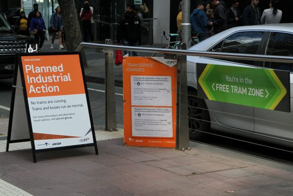 'Planned industrial action' A-frame sign at the Bourke and William Street tram stop