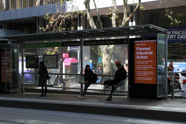 Clueless passengers waiting at a CBD tram stop for non-existent trams