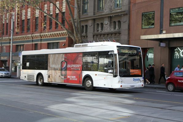 Dysons bus #810 3198AO on a route 96 tram replacement service at Bourke and Spencer Street