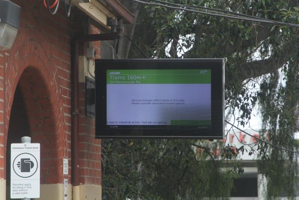 'Service changes affect trams at this stop' message on the TramTracker screen at Newmarket station during the stopwork action