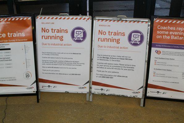 'No trains running due to industrial action' posters for V/Line Ballarat and Bendigo line services