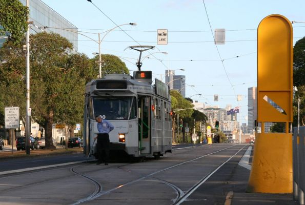 The driver of Z3.200 changes the points on Flemington Road to head to Essendon Depot