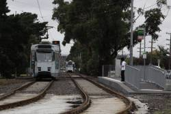 Route 82 terminating at the end of the reserved track in Maribyrnong, due to platform stop construction work at the Footscray terminus