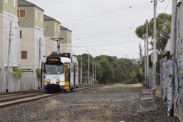 Z3.150 travels along the reserved track behind Highpoint shopping centre