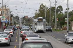 Stuck in traffic on Maribyrnong Road, Z3.126 heads west on route 57