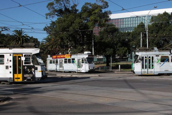Trio of trams at the Abbotsford Street interchange: Z3.127, Z3.205 and Z3.137