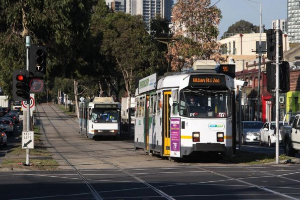 Z3.117 and B2.2022 northbound along route 55 on Peel Street at Victoria Street