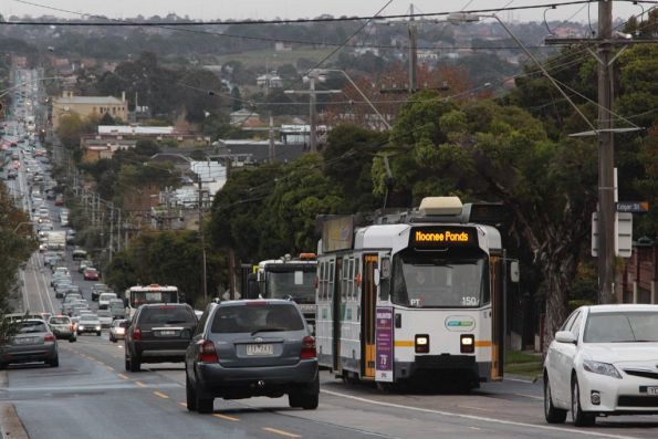 Moving slower than walking pace, Z3.150 still crawls east along Maribyrnong Road with a route 82 service