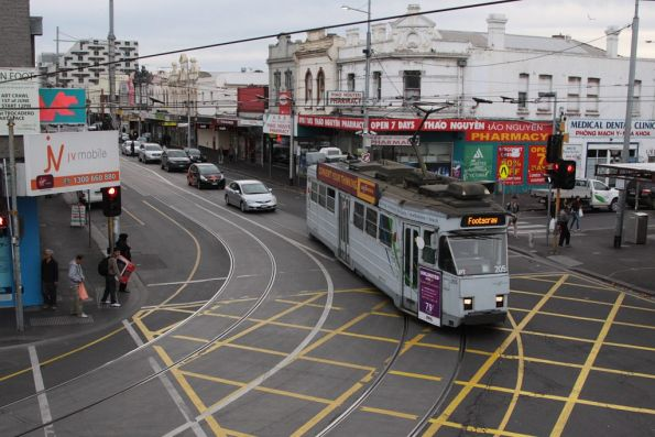 Z3.205 with a route 82 service turns from Hopkins into Leeds Street in Footscray