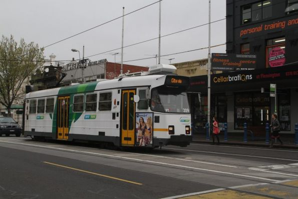 Z3.209 on route 57 stops for passengers in Racecourse Road, Flemington