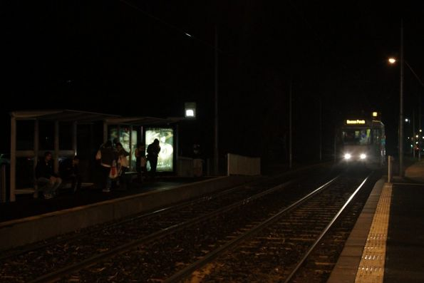 Moonee Ponds-bound tram stops for passengers at Highpoint