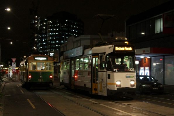 Z3.228 departs the route 82 terminus at Footscray, W8.959 on a test run waiting for the shunt