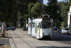 Z3.135 heads north on Peel Street at Dudley Street