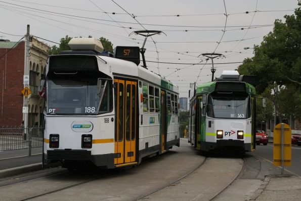 Route 57 trams Z3.188 and Z3.163 pass at the Abbotsford Street Interchange