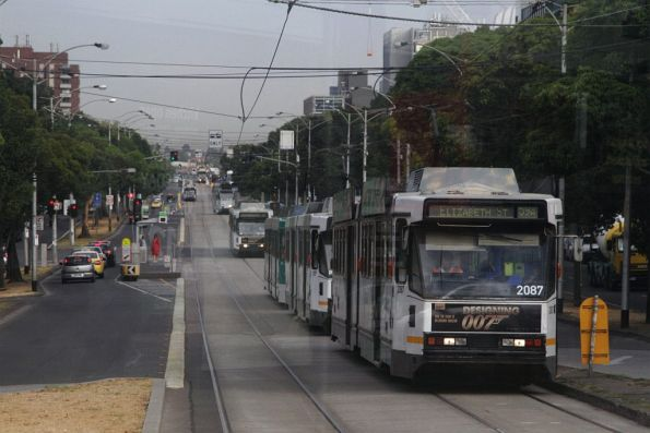 Citybound trams banked up along Flemington Road at Haymarket, due to a failed set of points