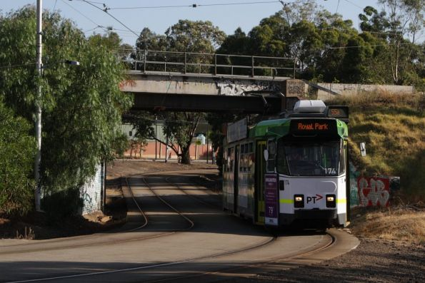 Z3.174 passes beneath the Upfield line bridge at Royal Park