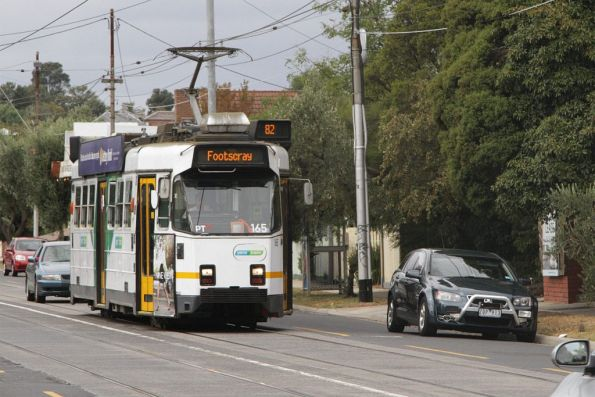 Z3.165 on route 82 passes a mobile speed camera setup on Maribyrnong Road