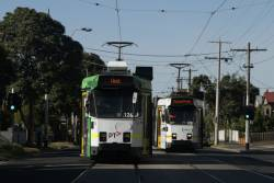 Two classmates on Ascot Vale Road - Z3.126 on an ex-Essendon Depot route 57 service passes Z3.228 on a Moonee Ponds bound route 82