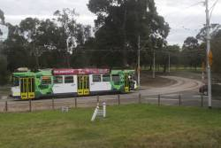 Z3.198 on route 55 departs the Royal Park station tram stop