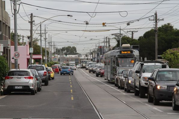 Z3.175 on route 55 gets stuck in traffic on Grantham Street in Brunswick West