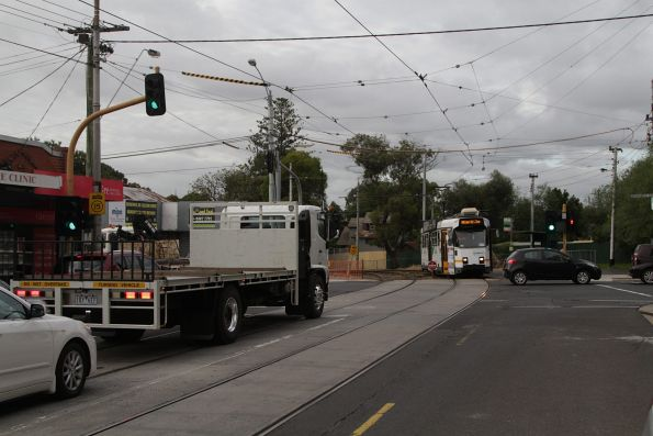 Outbound route 55 tram delayed by queued traffic at Brunswick Road and Grantham Street in Brunswick West