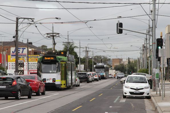 Trio of citybound route 55 trams get stuck in traffic on Grantham Street in Brunswick West
