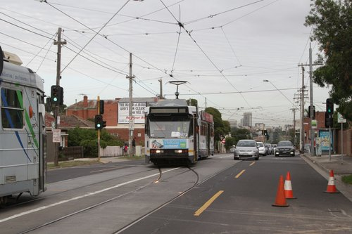 B2.2072 heads back to the city on route 55 after shunting at the Daly Street crossover