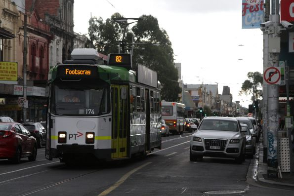 Z3.174 turns from Hopkins into Leeds Street on a route 82 service to Footscray