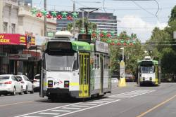Bunched route 57 trams on Errol Street - Z3.185 and Z3.159 both head southbound