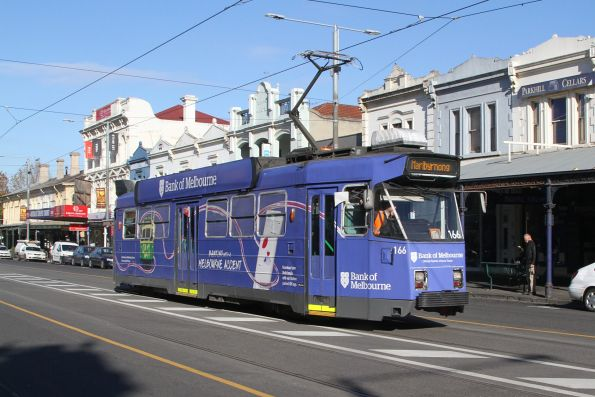 Z3.166 advertising 'Bank of Melbourne' heads north on route 57 along Errol Street