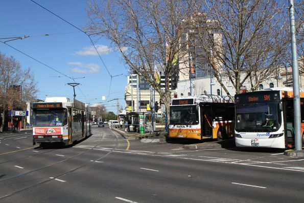 B2.2010 on route 59 passes Sita and Dysons buses at Moonee Ponds Junction