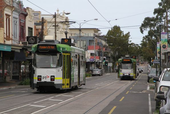 Z3.122 and Z3.139 pass on route 57 along Union Road, Ascot Vale