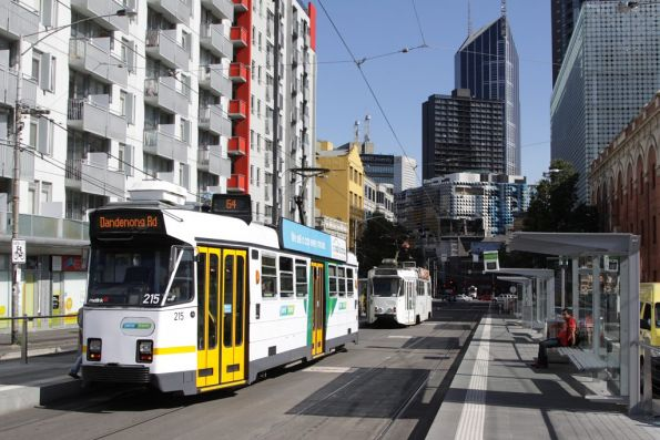 Z3.215 heads south on Swanston Street at Queensberry Street