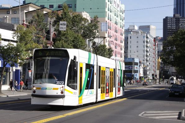 D1.3523 heads north on Swanston Street at Queensberry Street