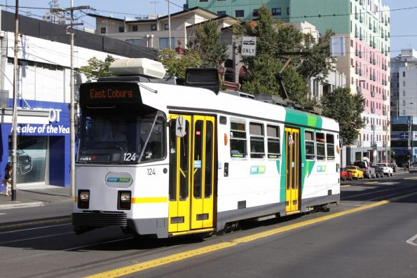 Z3.124 heads north on Swanston Street at Queensberry Street